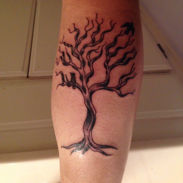 Simple leg tree tattoo design. #tattoos #treetattoos # ...