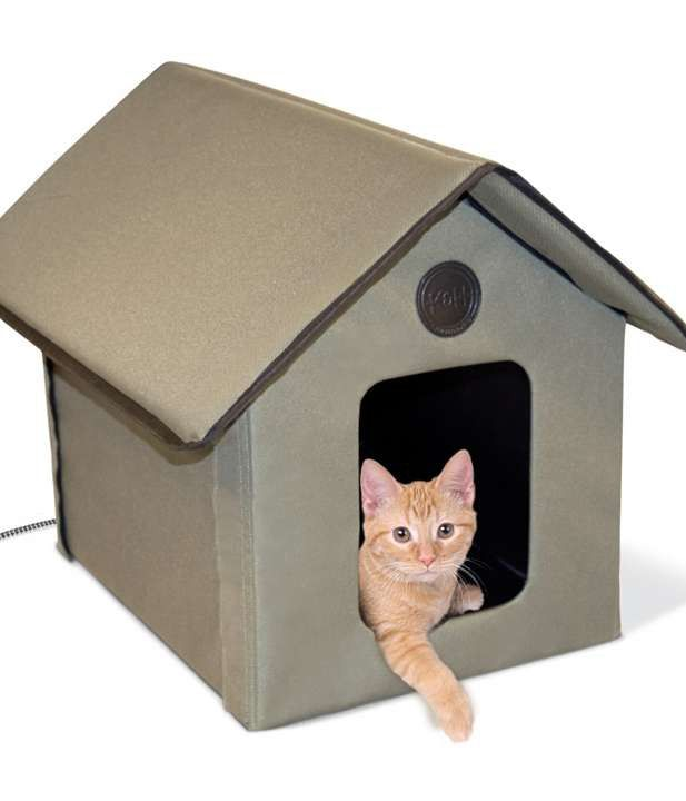 Outdoor cats can rest warm, dry, and secure inside the Outdoor Kitty House.