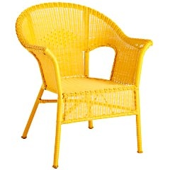 Not the same old brown or white wicker, I guess ifyou got sickof the coloryou could always paint it, but I like it yellow. It seems happy
