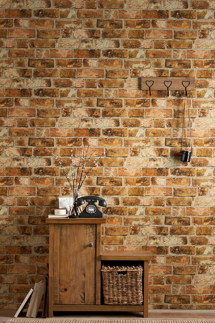 Next brick wallpaper paper walls pinterest for Wall looking wallpaper