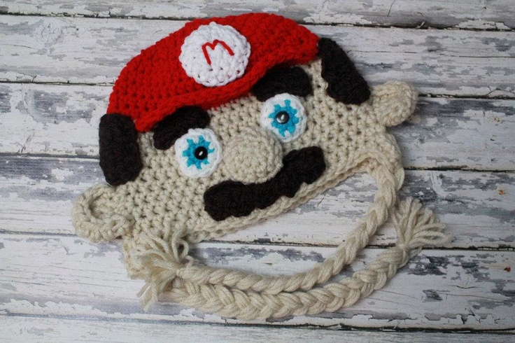 Crochet baby photography prop Super Mario hat