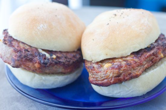 "... Cheddar Cheese & Bacon and Swiss Cheese and Mushroom ""Burger Pat..."