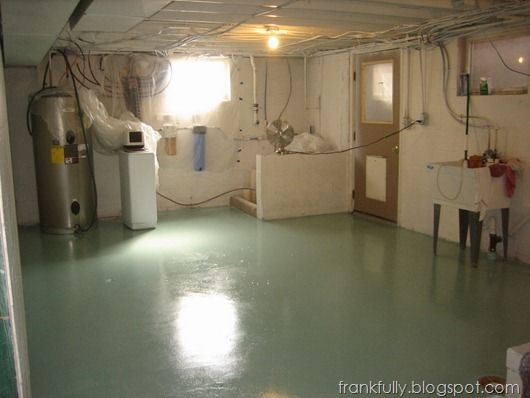 basement tool room painted Valspar Lake Country oil gloss floor