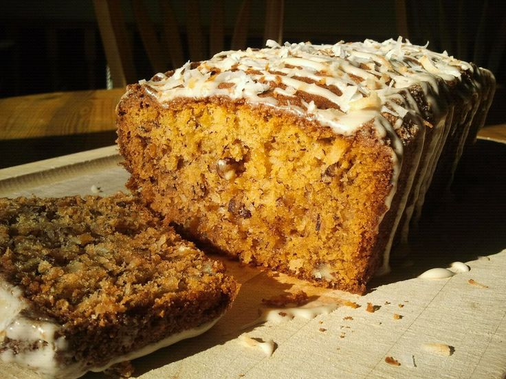 Coconut Banana Bread drizzled with Caramel Coconut Icing! Yumm-O!!