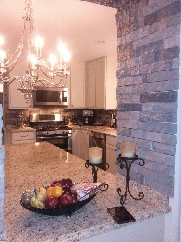 New Stone Wall And Backsplash French Country Kitchen Pinterest