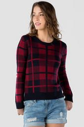 Francesca's Davenport Plaid Pullover Sweater