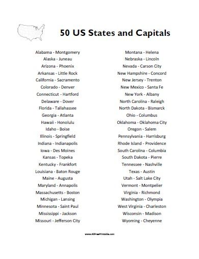 Free Printable 50 States And Capitals List School