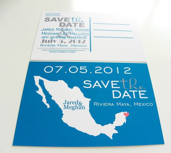save the date postcards mexico set of 48 destination wedding any lo