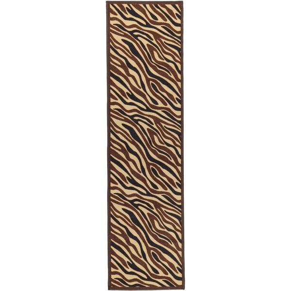Non-Skid Ottohome Brown Animal Print Zebra Runner Rug (1'8