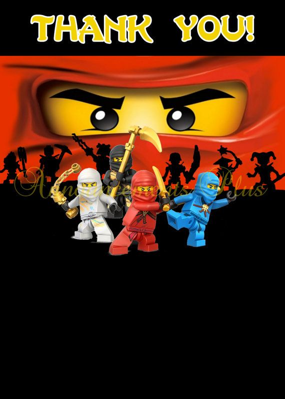 4x6 Matching Ninjago Thank You Card (3 designs available)