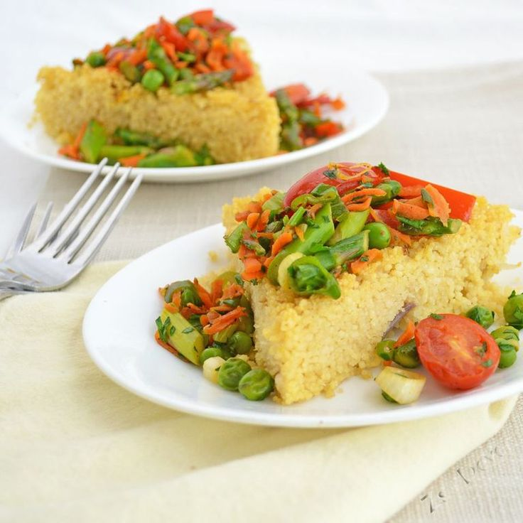 Saffron Couscous Cake with Spring Vegetable Sauté #30DaysOfVegan