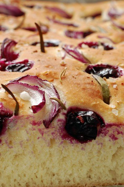 Fall Focaccia with purple onion grape and rosemary