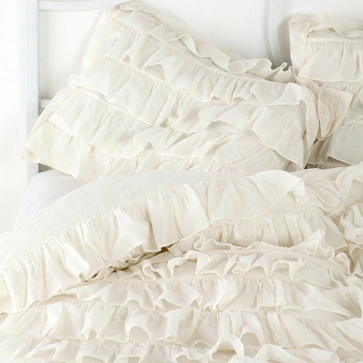 White waterfall ruffle bedding set for Frilly bedspreads