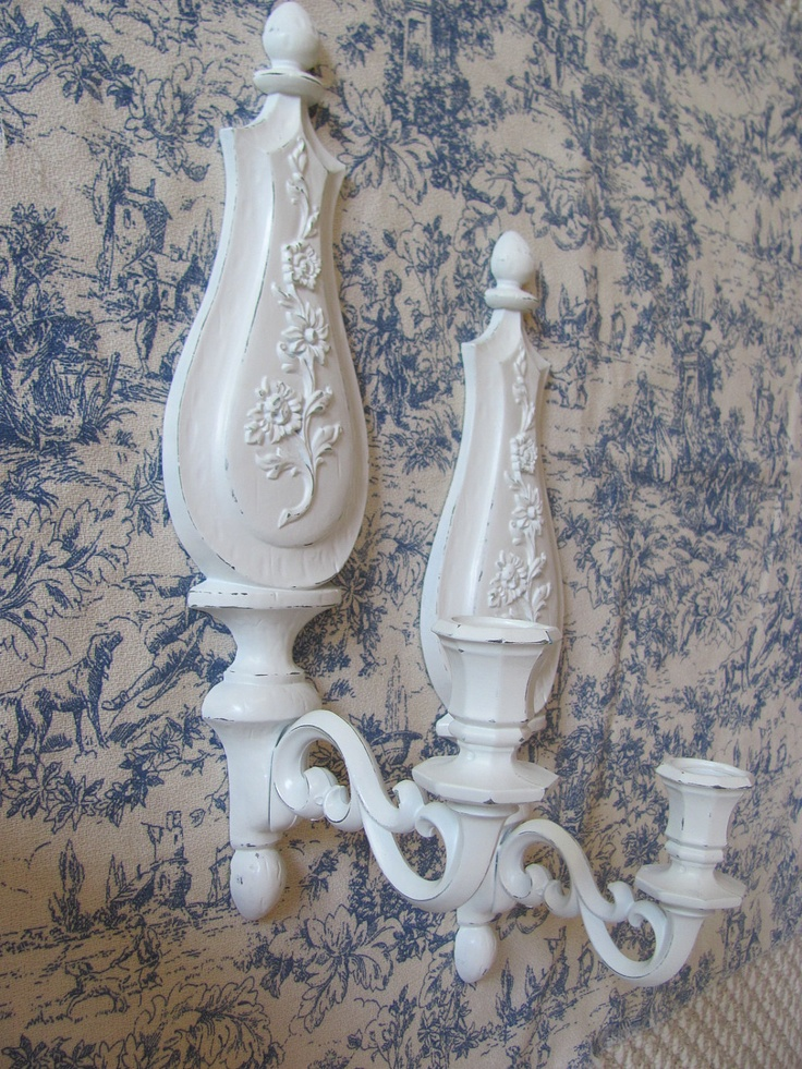 Candle sconces shabby chic vintage white dart industries for Bougeoir shabby chic