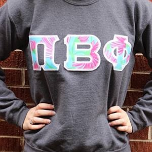 Pi Beta Phi Appliqued Sweatshirt with Lily Pulitzer Fabric  $58.50