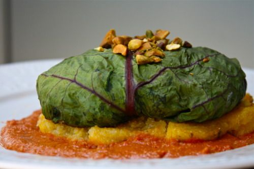 ... pesto eggplant with polenta and roasted red pepper sauce (vegan