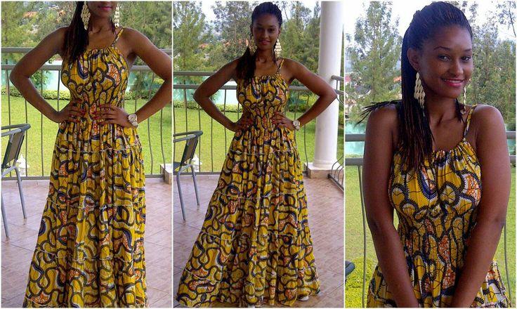 robe jaune robe jaune pagne mode femme africain mode beauté africaine ...