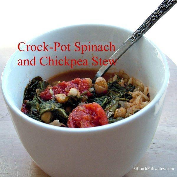 Crock-Pot Spinach and Chickpea Stew via CrockPotLadies.com #Vegetarian ...