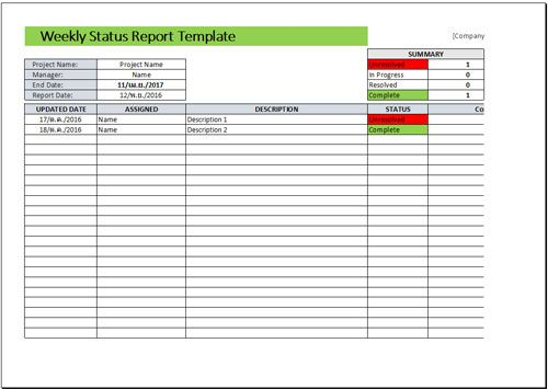 Weekly Status Report Format Excel Download  Free Project