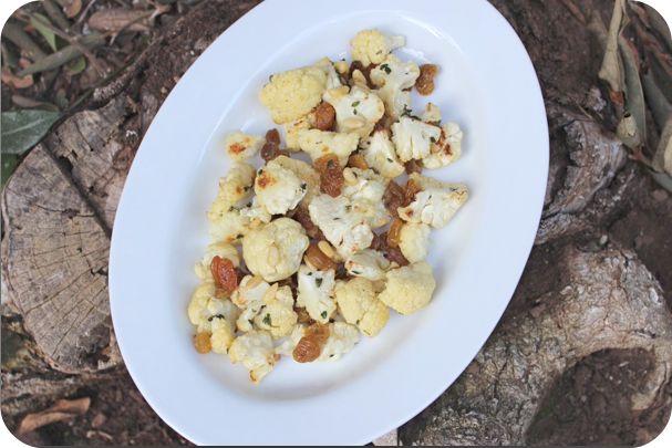 cauliflower w raisins pine nuts amp lemon thyme green beans amp ...