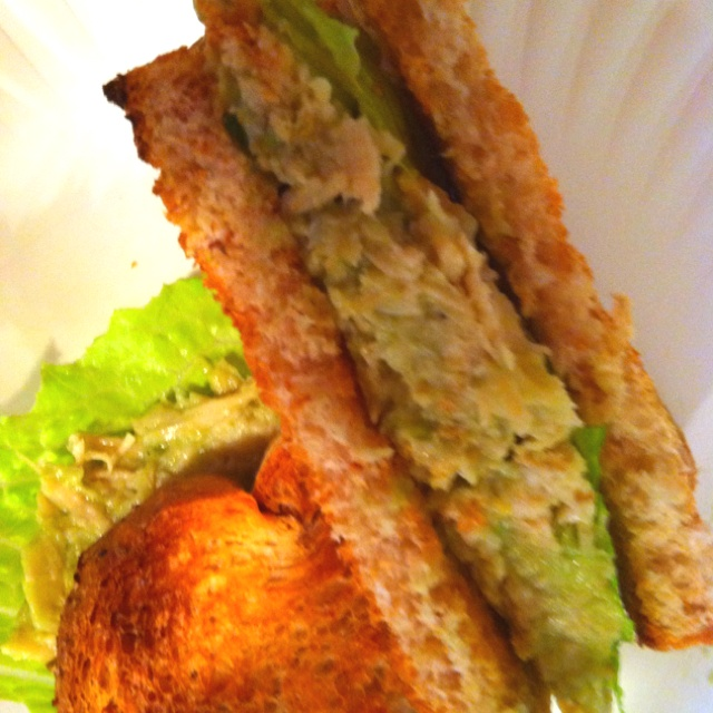 Chicken salad made with grapes and avocado instead of mayo! I added a ...