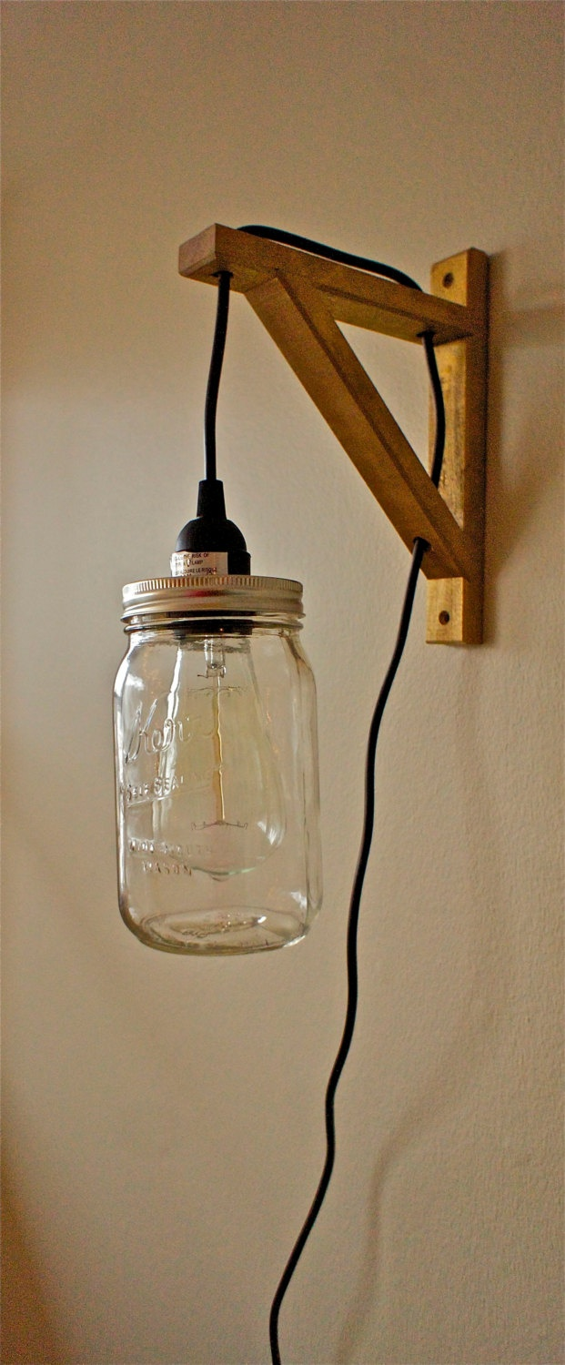 Hanging mason jar sconce light for Hanging lights made from mason jars