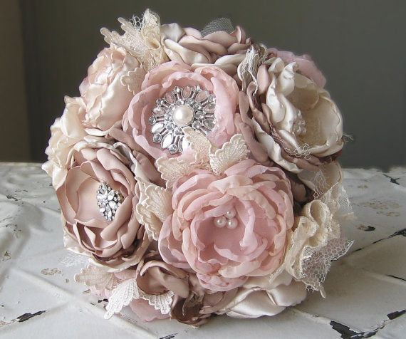 Unique Bridal Flower Bouquets : Fabric bridal bouquet flower unique wedding