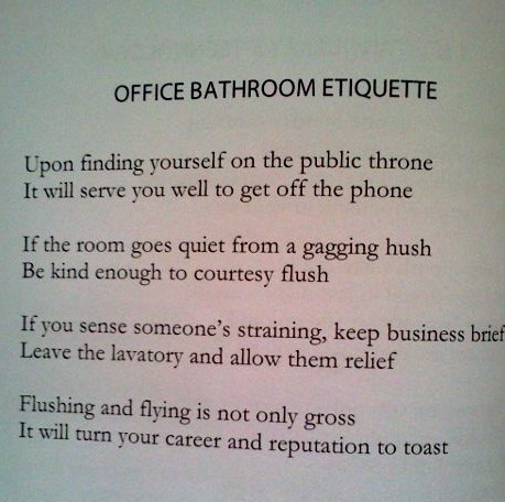 Wedding Gift Etiquette For Employees : sign for ladies bathroom etiquette just b.CAUSE