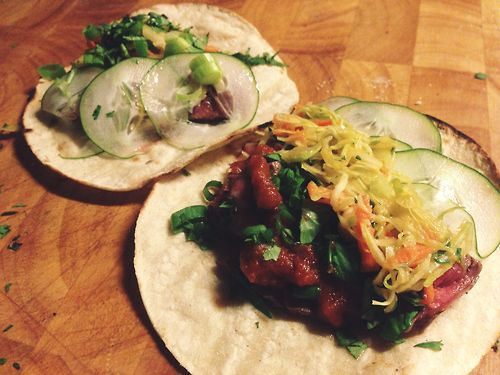 bulgogi ribeye tacos + spicy Asian slaw + cucumbers + Seoul style taco ...