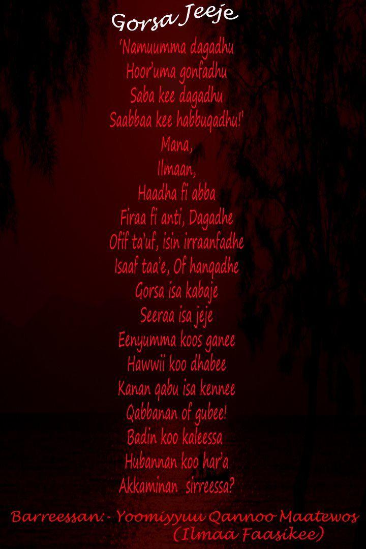 Poems in Oromo. Walaloo Afaan Oromo. Gorsa jeejee