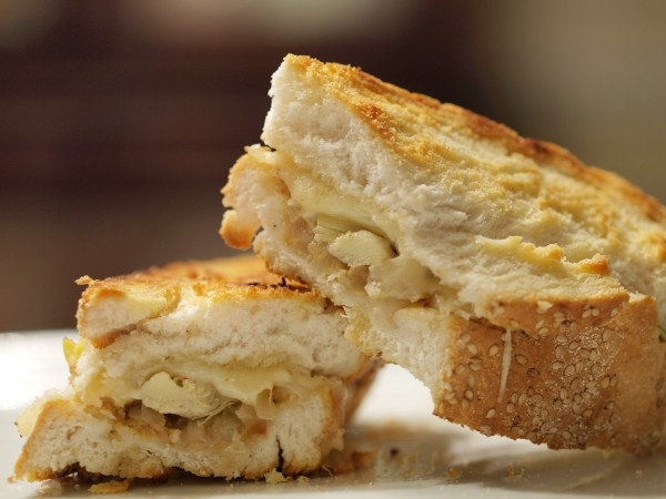 ... this -- maybe garlic bread? Grilled VEGAN Swiss with Artichoke Hearts