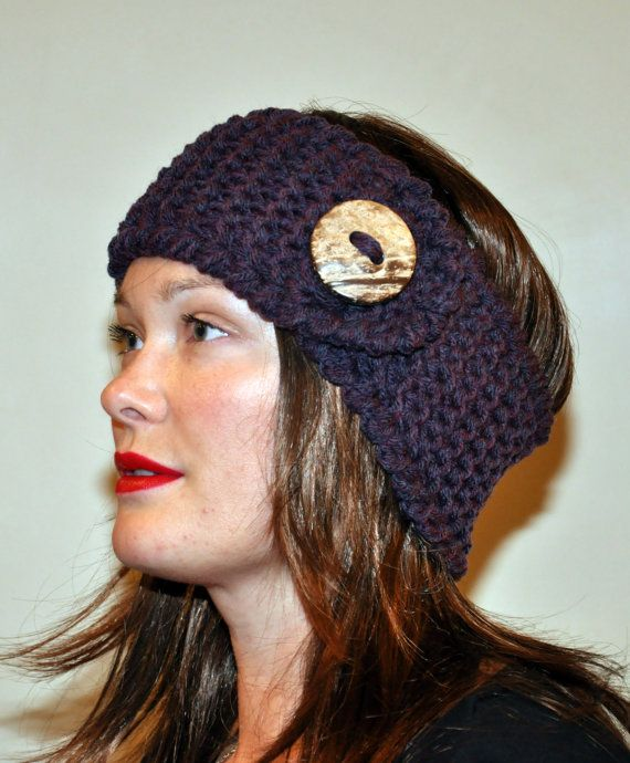 Crochet Patterns Headband Ear Warmer : Crochet Ear warmer Headband Head wrap CHOOSE COLOR Warm Winter Button ...