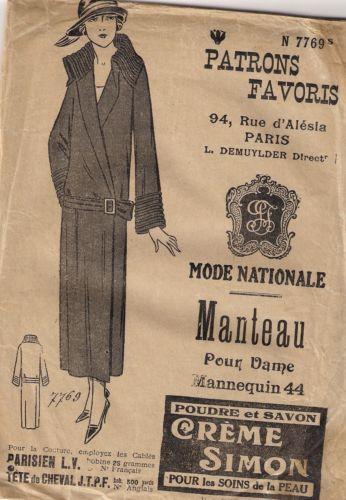 Patrons Favoris Années 30 Patron Manteau Taille 44 | eBay