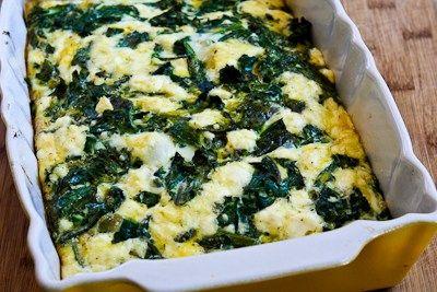 Recipe for Kale and Feta Breakfast Casserole [from Kalyn's Kitchen]