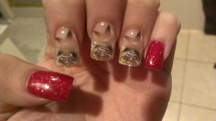 Nail art 49ers   nail art   Pinterest