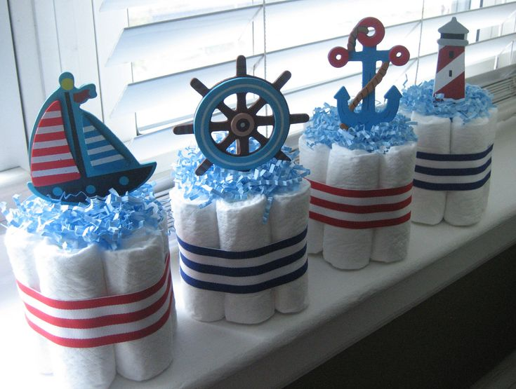 Four nautical mini diaper cakes for baby shower decoration for Baby shower nautical decoration