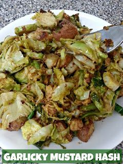 Garlicky Mustard Brussels Sprouts Hash - uses TJ's mustard aoli