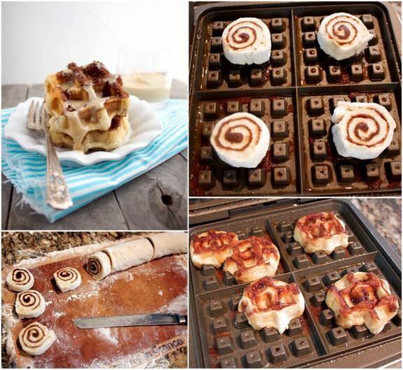 Cinnamon roll waffles | Breakfast | Pinterest