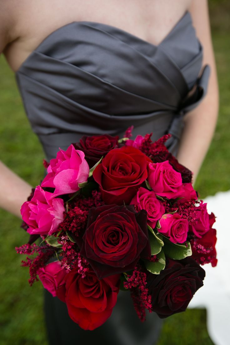 Wedding ideas gray and red wedding for Wedding dress with red flowers