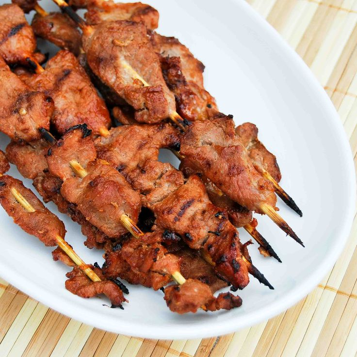 Pork bbq skewers using a Filipino style barbecue marinade.