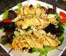 Coconut Chicken Salad with warm honey mustard vinaigrette. Adapted ...