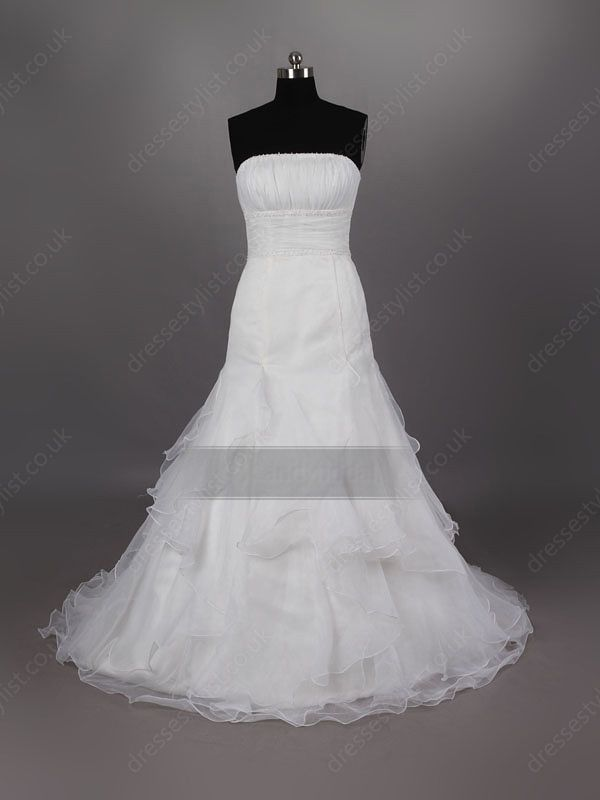 Strapless organza sweep train white tiered wedding dress shop uk