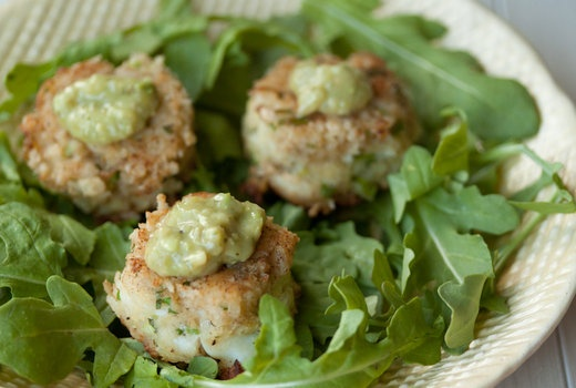 Crab Cakes with Tomatillo California Avocado Salsa