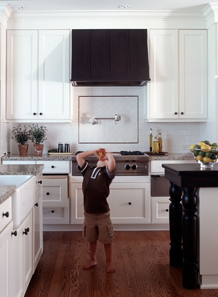 white cabinets, dark oak flooring  kitchen addiction  Pinterest