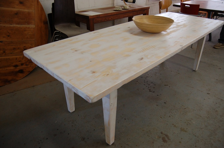 Great old board farm table with white washed surfaces
