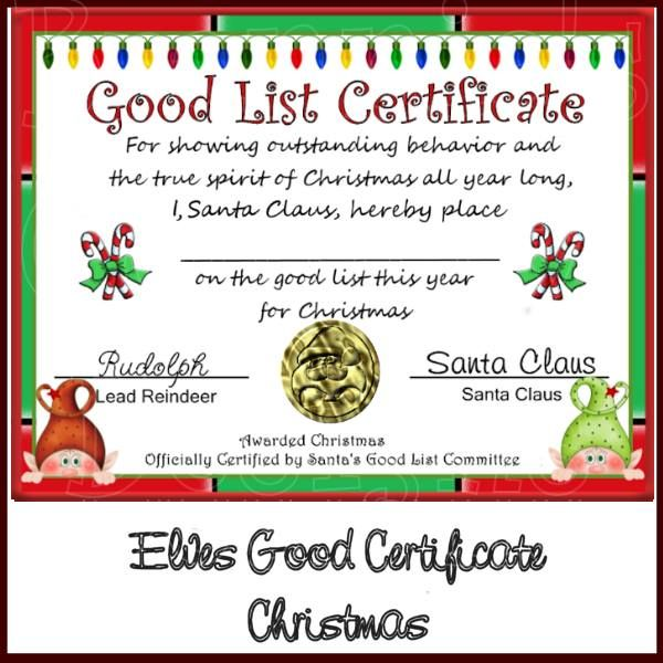 Good List Certificate to print | Christmas Recipes/Crafts/Decorations ...