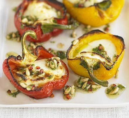 Peppers with halloumi, chilli & pine nuts