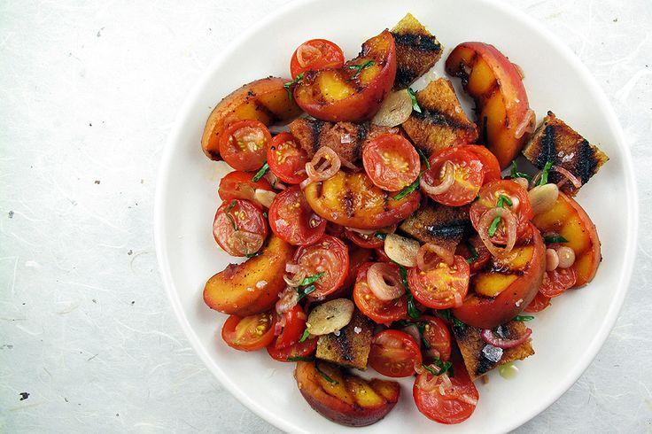 Grilled Peach Panzanella Salad | Recipe