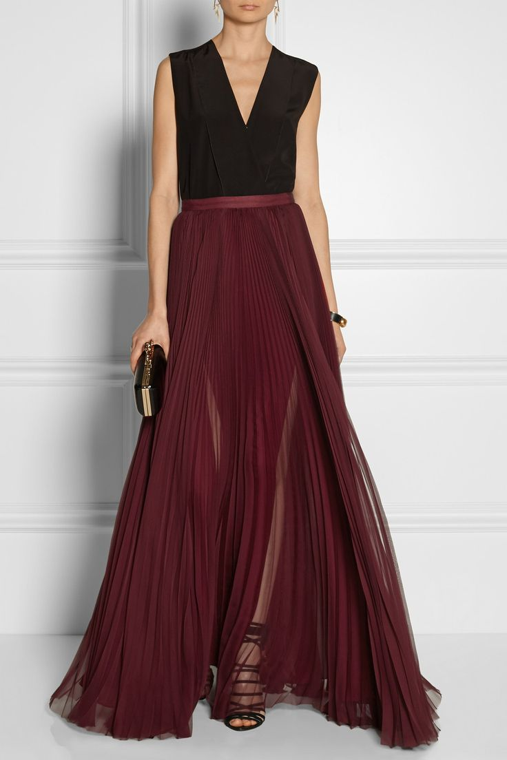pleated silk chiffon maxi skirt