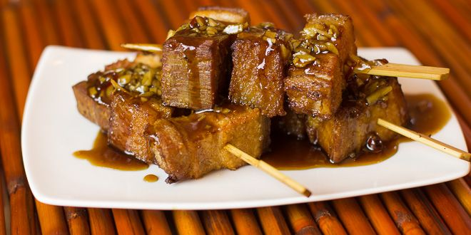 Deep Fried Sous Vide Pork Belly Skewers with Honey Garlic Glaze